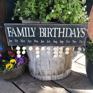 Family Birthday Sign Black